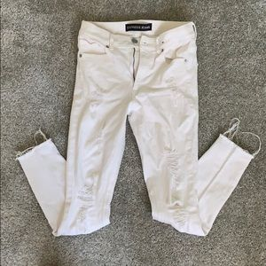 Express white skinny ripped jeans